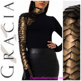 GRACIA - Faux Leather Scale mock neck  in  GOLD or  RED top