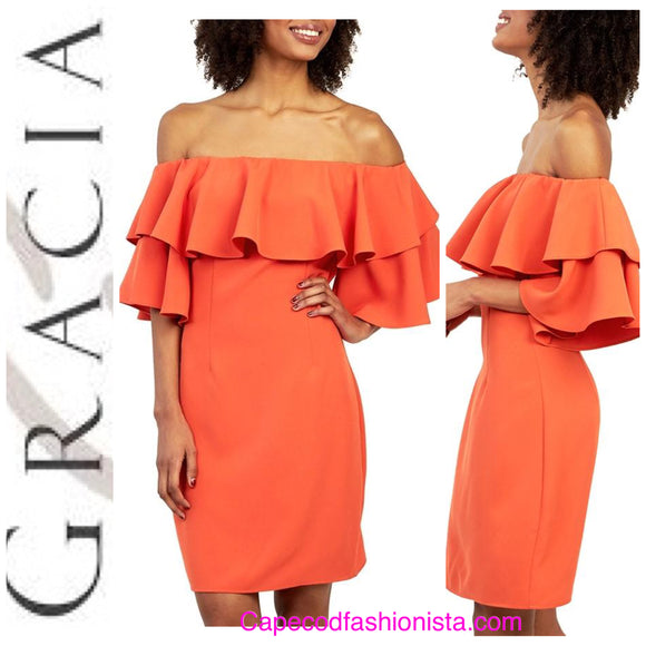 GRACIA-RUFFLE OFF SHOULDER DRESS