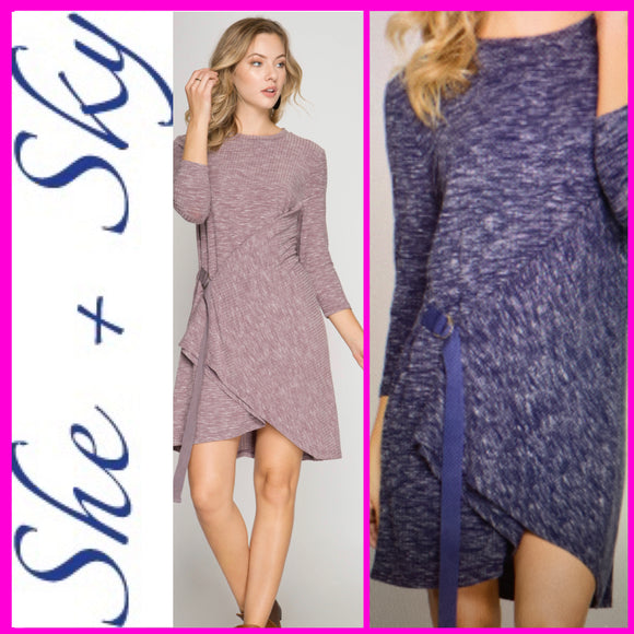 SHE + SKY - RIBBED KNIT DRESS WITH FRONT WRAP AND BUCKLES