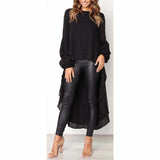 WOMEN'S LONG SLEEVE ASYMMETRICAL HIGH LOW LANTERN TOP