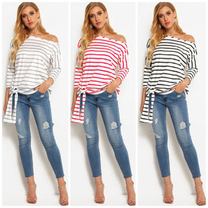 OFF SHOULDER BOAT NECK SIDE TIE LONG SLEEVE STRIPED BLOUSE TOP