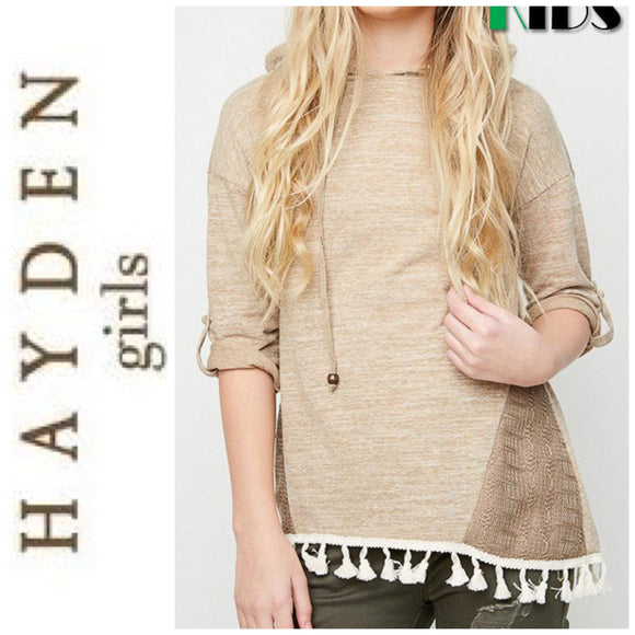 HAYDEN GIRLS LA - FALL HOODIE TASSEL HIGH LOW LACE COTTON TOP