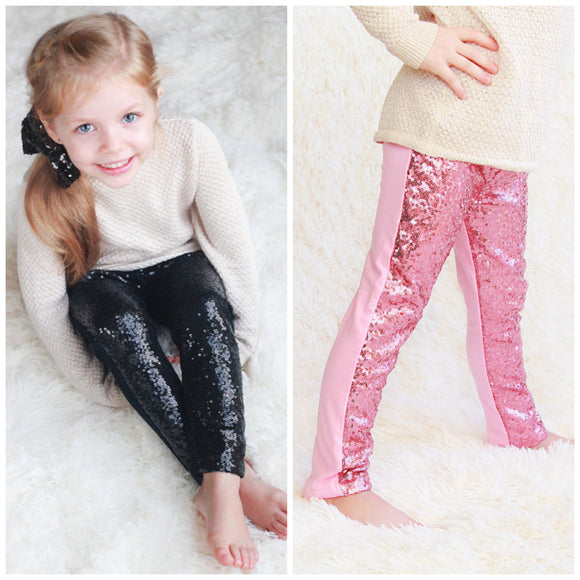 TODDLER GIRLS PINK OR BLACK  SEQUIN LEGGINGS