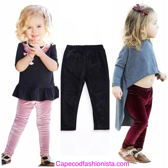 TODLER GIRLS STRETCH VELVET LEGGINGS CAPE COD FASHIONISTA