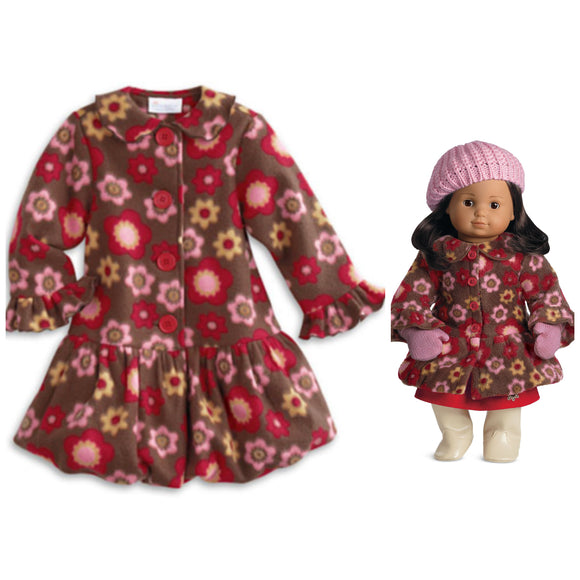 Fleece Coat & Mittens for Dolls AND GIRLS CAPE COD FASHIONISTA
