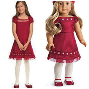 AMERICAN GIRL SCARLET AND SNOW MATCHING DRESS FOR DOLLS AND GIRLS