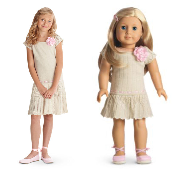 AMERICAN GIRL MATCHING DOLLS AND GIRLS ivory knit dress