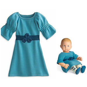BITTY BABY KNIT TEAL COZY PLAY TIME MATCHING DOLLS & GIRLS DRESS