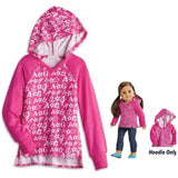 American girl LOGO V-NECK HOODIE JERSEY FOR GIRLS AND  DOLLS