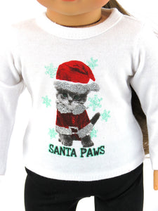 SANTA PAWS LONG SLEEVE DOLL T-SHIRT FOR AMERICAN GIRL DOLL cape cod fashionista