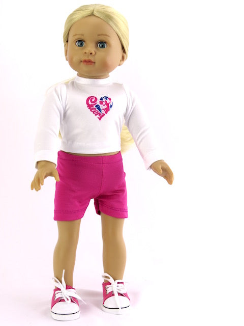 2 PIECE HEART CHEER SUIT FOR AMERICAN GIRL DOLL
