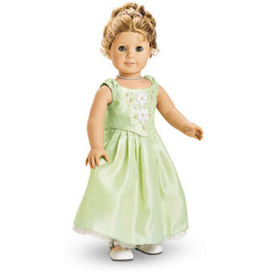 American Girl Junior Bridesmaid Evening Gown Dress & Shoes Light Green