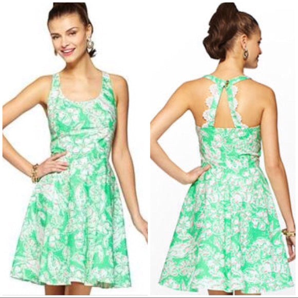 LILLY PULITZER A-LINE RAZOR BACK CROCHETED LACE DETAIL LOBSTER PRINT ZO BEACH BASH DRESS IN GLENDA GREEN