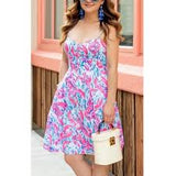 LILLY PULITZER EASTON DRESS COSMIC CORAL CRACKED UP PRINT SPAGHETTI  SUNDRESS CAPE COD FASHIONISTA