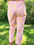 LILLY PULITZER ORANGE FLOWER PRINT WITH BACK AND SIDE POCKET CARGO CROP ANKLE LENGTH COTTON STRETCH PANT BACK VIEW WITH POCKETS CAPE COD FASHIONISTA