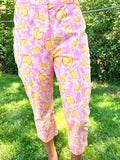 LILLY PULITZER ORANGE FLOWER PRINT WITH BACK AND SIDE POCKET CARGO CROP ANKLE LENGTH COTTON STRETCH PANT CAPE COD FASHIONISTA