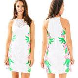 🌺   LILLY PULITZER PEARL SHIFT RESORT WHITE DRESS IN TROPICAL FRUIT LACE SIDE PRINT