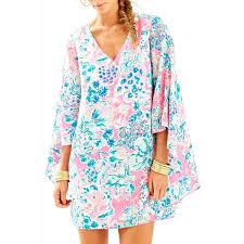 🌺   LILLY PULITZER MIRI SILK CAFTAN GYPSEA CAPE MULTI COLORED PINK DRESS