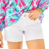🌺  LILLY PULITZER WOMEN'S CASUAL WILLS STRETCH RESORT WHITE SHORTS WITH POCKETS