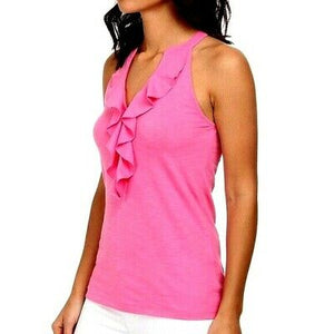 🌺   LILLY PULITZER PINK  SHAY RUFFLE V NECK CASUAL TANK COTTON RACER BACK TOP WITH LOGO