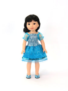 Blue PRINCESS Sparkly SEQUIN Dress FOR WELLIE WISHERS 14.5 INCHES