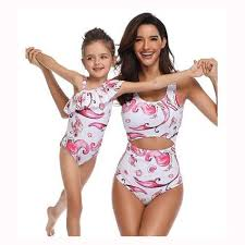 MOMMY & ME MATCHING MERMAID PEEK-A-BOO/OFF THE SHOULDER ONE STRAP RUFFLE BATHING SUITS