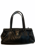 PRADA VITELLO DAINO Luxurious Black Calfskin Satchel Tote Bag