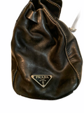 PRADA VITELLO DAINO Luxurious Black Calfskin Satchel Tote Bag side view cape cod fashionista
