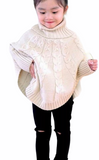VIRGIL KIDS - GIRLS TURTLENECK FALL PONCHO CABLE KNIT SWEATER