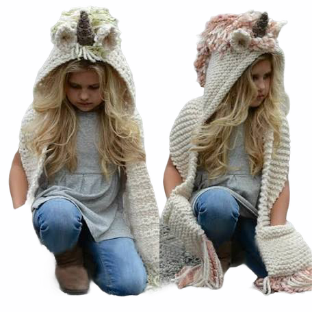 GIRLS FALL WINTER KNIT UNICORN KNIT HOODED HAT COMBO  SCARF