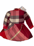 AUTHENTIC BURBERRY RED PLAID RUFFLE TODDLER GIRLS FALL DESIGNER DRESS