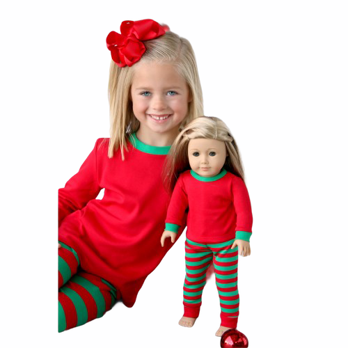 HOLIDAY CHRISTMAS STRIPED FAMILY DOLLS MATCHING PAJAMAS