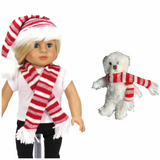 PLUSH HOLIDAY BEAR WITH SCARF or matching hat set for American Girl Dolls