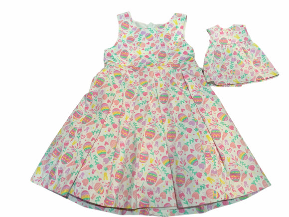 GIRLS MATCHING 2 PC LINED COTTON EASTER DRESS CAPE COD FASHIONISTA