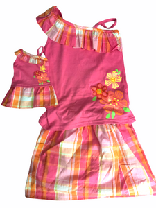 WHAT A DOLL - HAWAIIAN flower asymmetric 2 piece top skirt & matching doll dress
