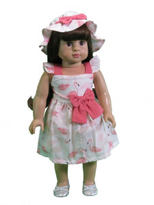 2 PIECE FLAMINGO HAT SET FOR AMERICAN GIRL DOLL & BITTY BABY