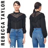 REBECCA TAYLORSILK & LACE TOP WITH VELVET TRIM