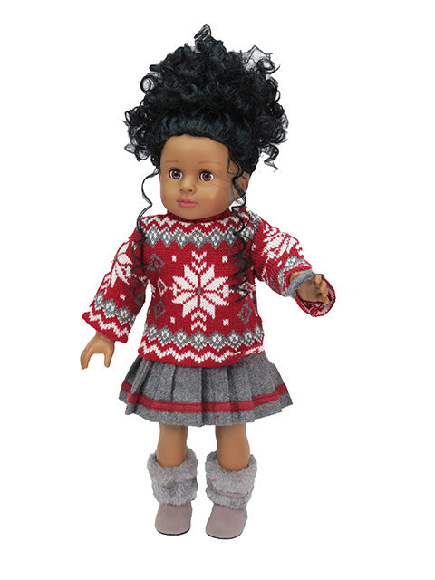 3 piece SNOWFLAKE KNIT SWEATER, SKIRT EARMUFFS  SET FOR AMERICAN GIRL DOLL CAPE COD FASHIONISTA
