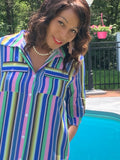 STRIPED PINK BUTTON DOWN BOHO SHIRT DRESS 2 FRONT POCKETS WITH SIDE POCKETS IN BLUE GREEN MULTI COLOR MAXI AT CAPE COD FASHIONISTA