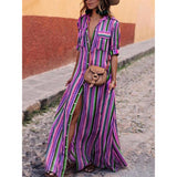 WOMEN'S STRIPED MAXI BUTTON DOWN BOHO SHIRT DRESS WITH POCKETS - Featured