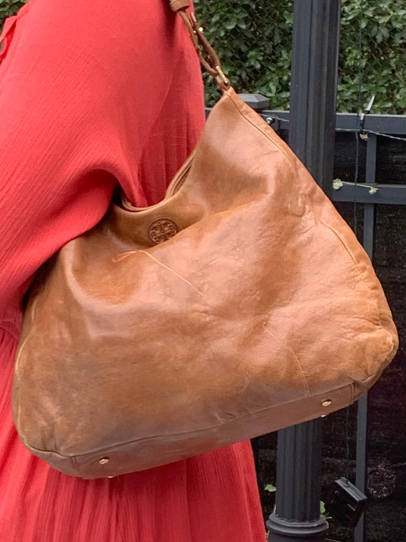 TORY BURCH MARION SOFT LEATHER HOBO SATCHEL