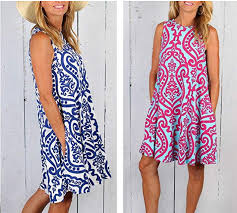 WOMEN'S SUMMER DAMASK PRINT POCKET A-LINE LOOSE CASUAL DRESS - FEATURED