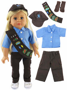 5 pc GIRL SCOUT Brownie Outfit FOR 18 IN  AMERICAN GIRL DOLL