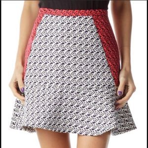 C. LUCE TRUMPET A-LINE JACQUARD PRINT SKIRT SIZE SMALL
