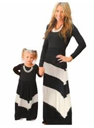 MOTHER & DAUGHTER MATCHING LONG SLEEVE GIRLS - WOMEN'S CASUAL  MAXI DRESS