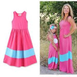 Pink and Teal Silky Easy Breezy Wash and Go Wrinkle FREE Vacation Maxi Dress
