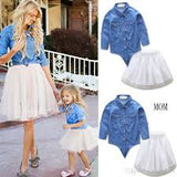 Mommy & ME Matching 2 PC  Denim TOP TULLE skirt