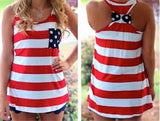 MATCHING FAMILY PATRIOTIC RED WHITE BLUE POCKET TANKS WITH BOW on BACK