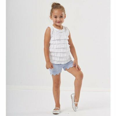 E-land blue Gingham Scalloped Shorts with Pink Flamingo