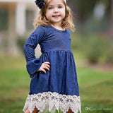 GIRLS FALL DENIM LACE HEMLINE LONG BELL SLEEVE DRESS